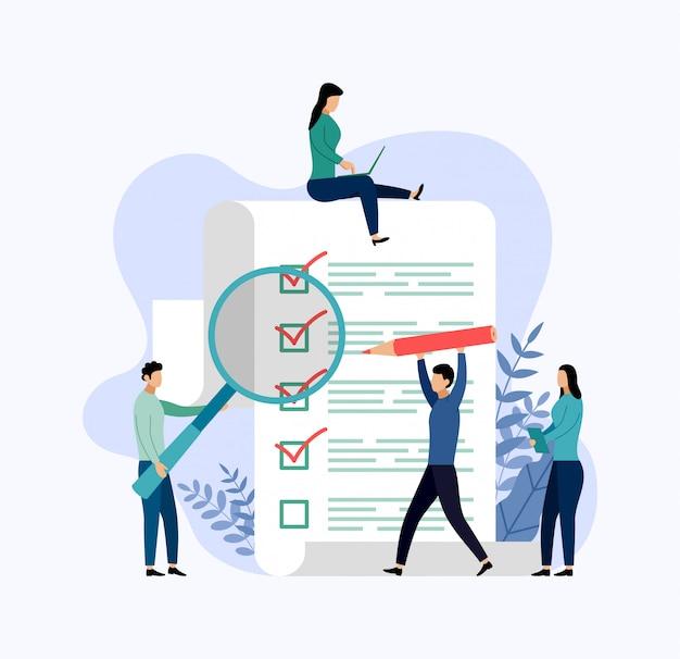 Relatório de pesquisa, lista de verificação, questionário, ilustração em vetor conceito negócio