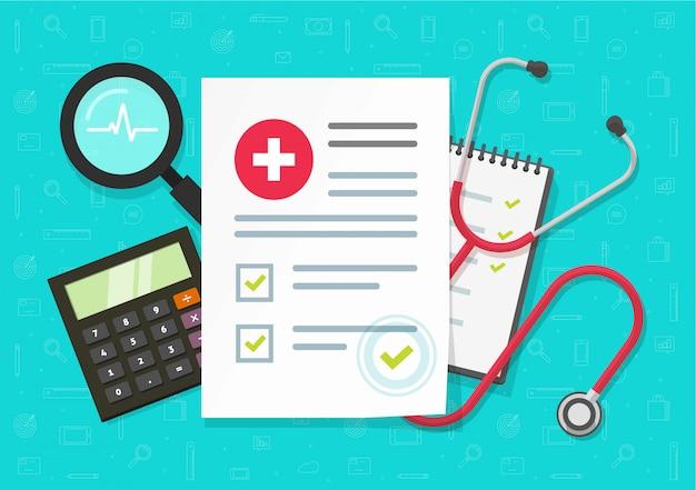 Relatório de pesquisa médica com documento de seguro na mesa da mesa de trabalho ou nos resultados da lista de verificação de saúde, vista superior