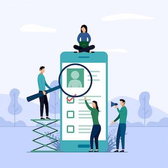 Relatório de pesquisa on-line, lista de verificação, questionário, ilustração do conceito de negócio