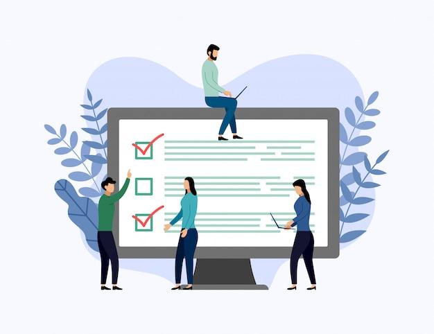 Relatório de pesquisa on-line, lista de verificação, questionário, ilustração em vetor conceito negócio