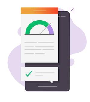 Relatório de smartphone smartphone de desempenho de alta velocidade on-line ícone ilustração plana dos desenhos animados
