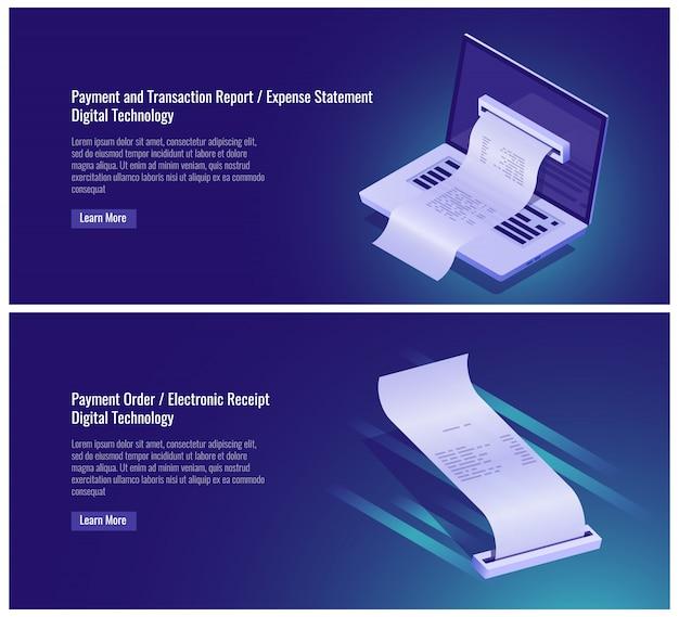 Relatório de transação de pagamento e dinheiro, declaração de despesas, ordem de pagamento, recibo eletrônico