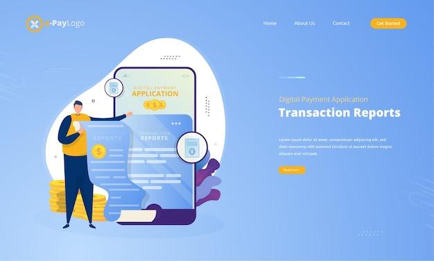 Relatório de transação no conceito de aplicativo de pagamento digital