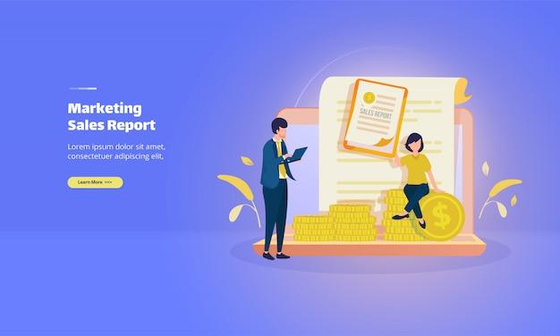 Relatório de vendas de marketing para página de destino comercial