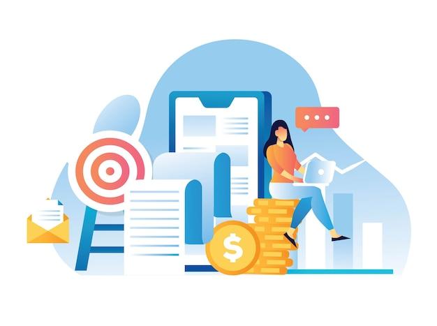 Relatório de vendas para ilustração de aplicativos móveis