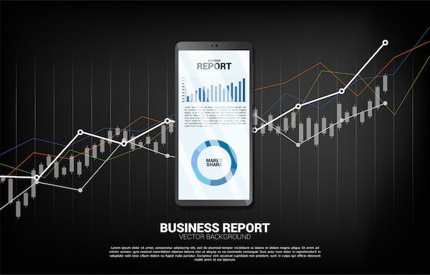 Relatório do gráfico de negócio no telefone móvel com fundo da carta.