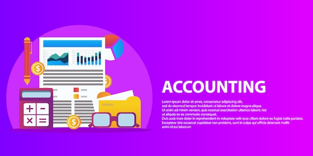 Relatório financeiro bem sucedido do plano de negócios e bandeira do conceito de contabilidade.