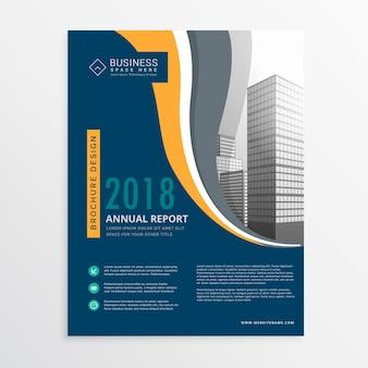 Relatório folheto modelo anual azul moderno design vector em tamanho a4