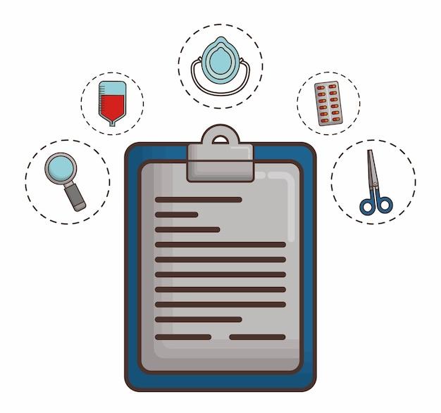 Relatório médico com elementos de primeiros socorros em torno
