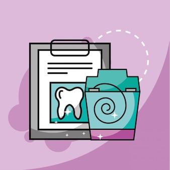 Relatório médico e fio dental