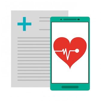 Relatório médico e smartphone com aplicativo de pulsação