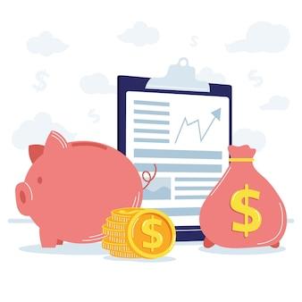Relatórios e ícones financeiros