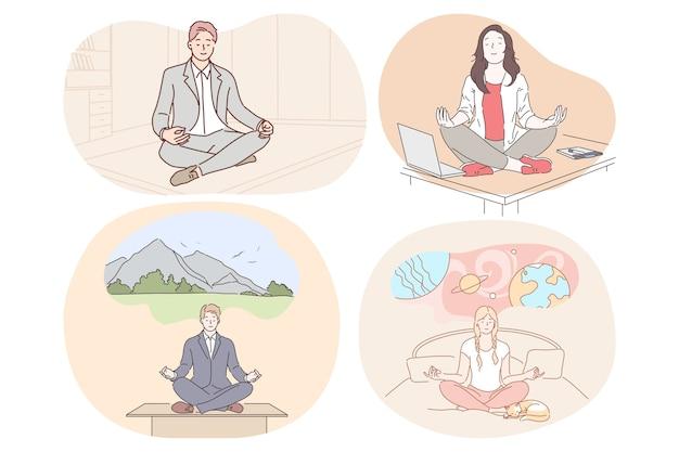 Relaxamento de meditação alcançando harmonia durante o dia de trabalho e antes de dormir conceito