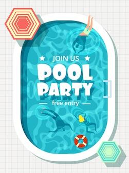 Relaxamento homem e mulher nas férias de verão. modelo de cartaz de festa de piscina