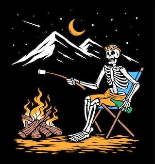 Relaxando com ilustração de fogueira