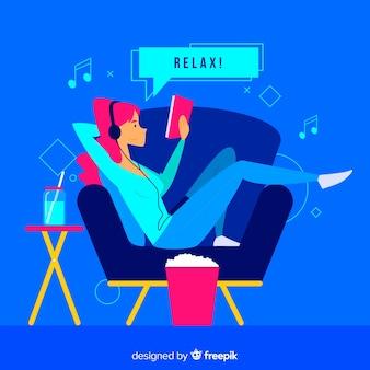 Relaxando em casa conceito para a página de destino