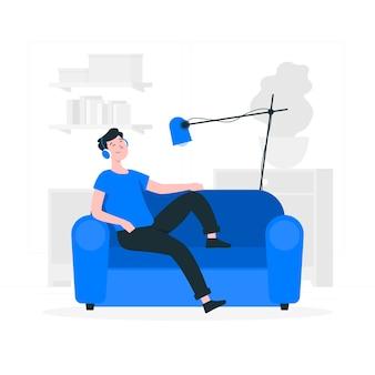 Relaxando em casa ilustração do conceito