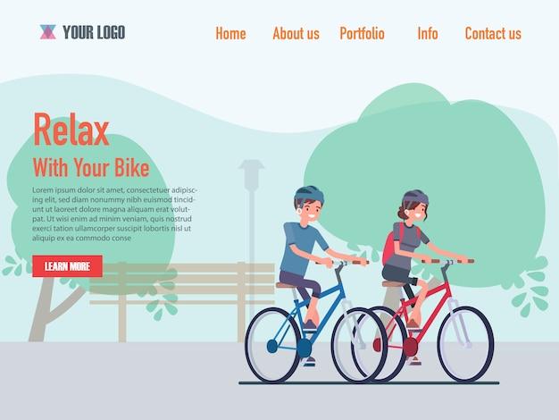 Relaxar com seus modelos de página da web de design plano de bicicleta