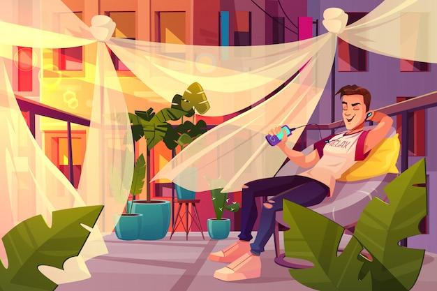 Relaxe e chill out no conceito de vetor de azáfama cidade dos desenhos animados.
