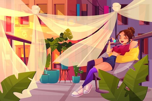Relaxe e relaxe no conceito de vetor de cidade grande dos desenhos animados.