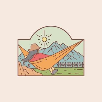 Relaxe em uma rede com a ilustração da vista da montanha
