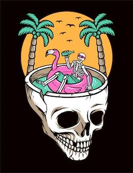 Relaxe na praia do crânio