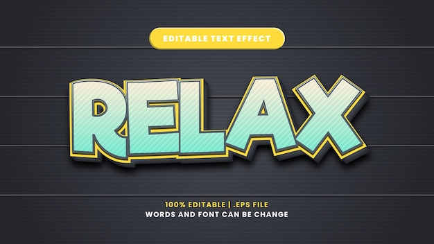 Relaxe o efeito de texto editável em um estilo 3d moderno