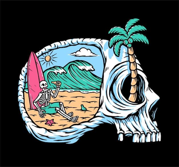 Relaxe sua mente na ilustração da praia