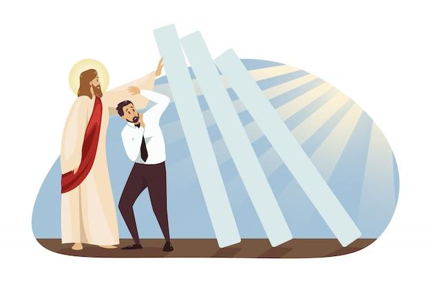 Religião cristianismo e conceito de negócio.
