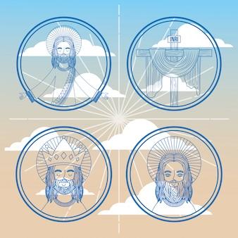 Religião de fé de rosto de coleção jesus no céu