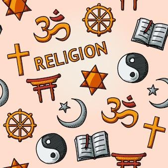 Religião mundial desenhada à mão sem costura padrão