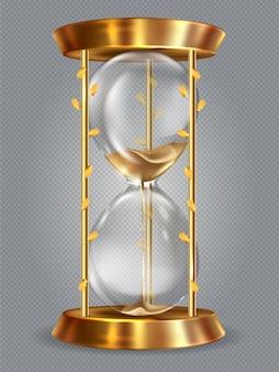 Relógio antigo realista com ampulheta
