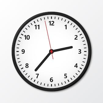 Relógio circular de parede preta com sombra. ilustração