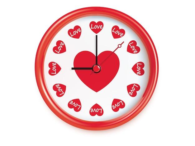 Relógio com corações. ilustração realista