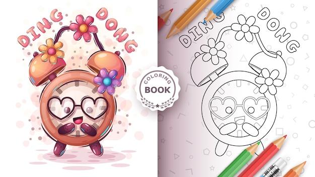 Relógio com flor - página para colorir