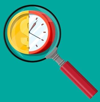 Relógio com moeda de ouro e lupa. receita anual, investimento financeiro, poupança, depósito bancário, renda futura, benefício em dinheiro. o tempo é o conceito de dinheiro. ilustração vetorial em estilo simples
