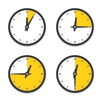 Relógio com partes das horas definidas. seções amarelas nas faces do relógio sem numerais.