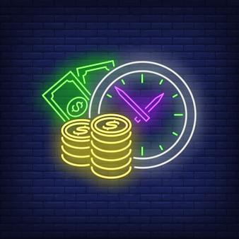 Relógio com sinal de néon de dinheiro
