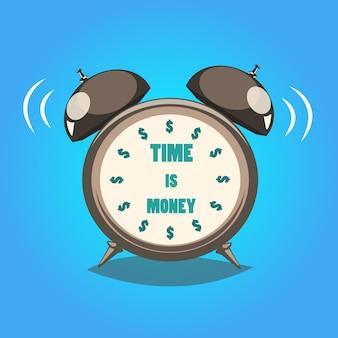 Relógio com tempo é dinheiro texto