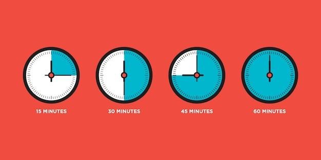 Relógio. conjunto de tempo no design plano de uma hora
