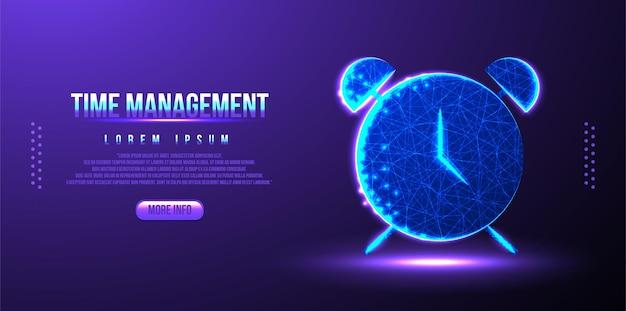 Relógio, cronômetro, tempo, design de malha de wireframe de baixo poli de gerenciamento