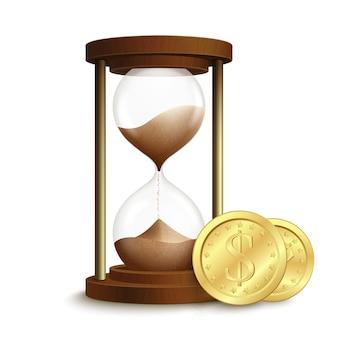 Relógio de areia 3d realista ampulheta com dólar moedas dinheiro emblema isolado ilustração vetorial