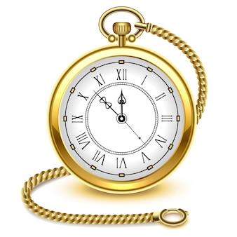 Relógio de bolso de ouro vintage e corrente