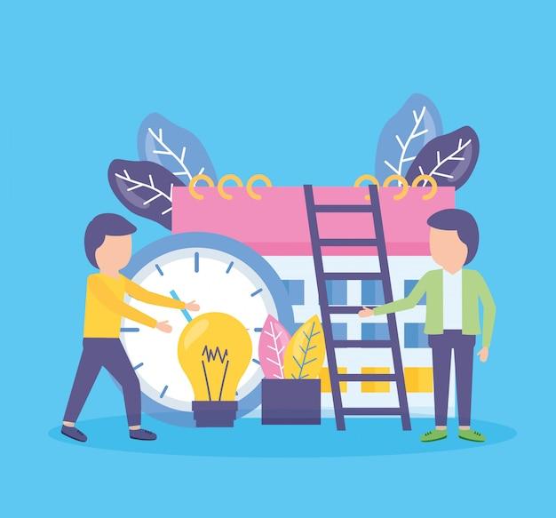 Relógio de calendário de pessoas de negócios