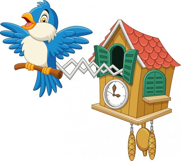 Relógio de cuco com chilrear de pássaro azul