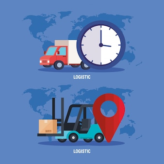Relógio de empilhadeira de caminhão e gps marcam desenho vetorial