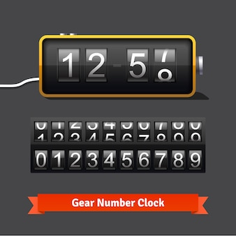 Relógio de engrenagem e modelo de contador de números