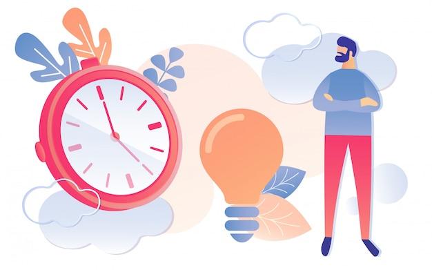 Relógio de homem dos desenhos animados no sinal de idéia de lâmpada de relógio
