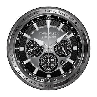 Relógio de luxo preto realista com mostrador de relógio cronógrafo