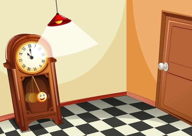 Relógio de madeira vintage na sala